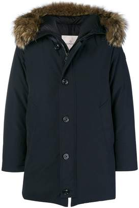 Moncler fur-trim zipped parka coat