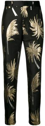 MSGM metallic palm tree trousers