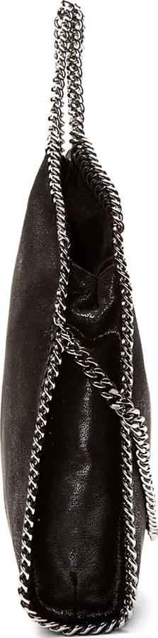 Stella McCartney Black Shaggy Deer Chain-Trimmed Foldover Falabella Bag