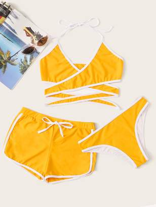 Shein Contrast Piping Wrap Halter Bikini Set With Shorts 3pack
