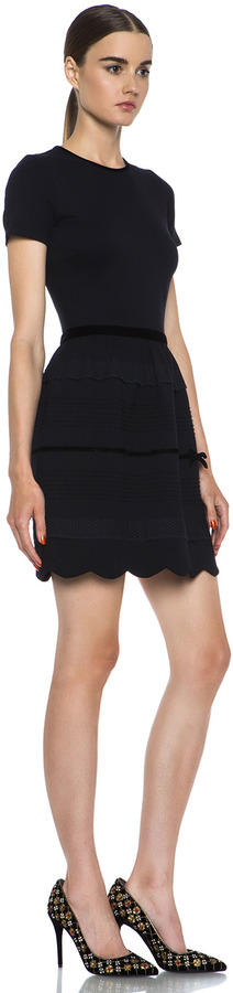 RED Valentino Scalloped Hem Viscose-Blend Mini Dress in Black