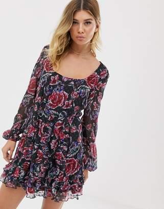 Talulah Ardour floral print ruffle sleeve dress
