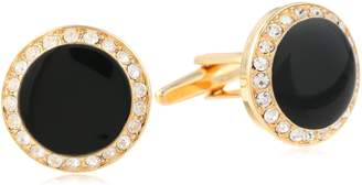 Stacy Adams Men's Round Cuff Link With Black Enamel and Crystals