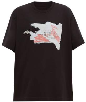 Maison Margiela Oversized Numbers Print Cotton T Shirt - Mens - Black