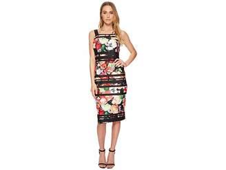 Adrianna Papell Striped Botanical Scuba Sheath Women's Dress