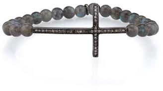Sheryl Lowe 6mm Labradorite Bracelet with Diamond Cross