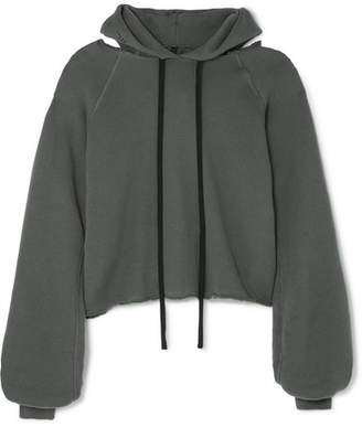 Unravel Project - Distressed Cotton And Cashmere-blend Hoodie - Gray