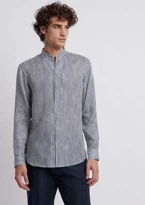 Emporio Armani V-Neck Shirt In Stripe-Print Cotton