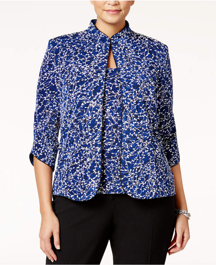Alex Evenings Alex Evenings Plus Size Printed Mandarin Jacket and Shell