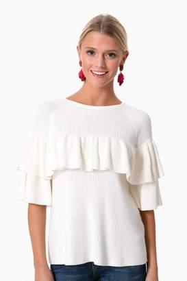 Vineyard Vines Marshmallow Ribbed Ruffle Sweater