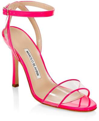 Manolo Blahnik Dandolo Leather & PVC Heeled Sandals