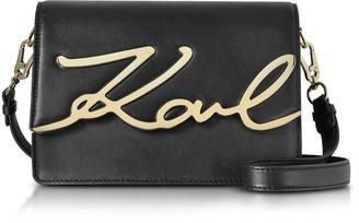 Karl Lagerfeld Paris Black Leather K/Signature Shoulder Bag