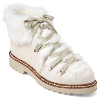 BEIGE Elena & Ivory Real Fur-Trimmed Lace-Up Boots