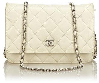 Chanel Vintage Quilted Caviar Wallet On Chain