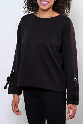 Elan International Grommet Tie-Sleeve Sweatshirt