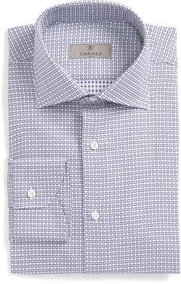 Canali Trim Fit Check Dress Shirt