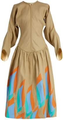 Swoosh-print dropped-waist linen dress