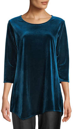 Caroline Rose Round-Neck 3/4-Sleeve Stretch-Velvet Angled Top, Plus Size