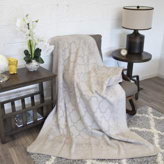Ottomanson Bed Blankets, Bedspread, Plush Cotton Throw, Soft Cotton Cozy Blanket Imported From Europe Cotton Blanket, 50'' L X 65'' W, Light Grey