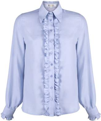 MUZA - Blue Ruffled Viscose Long Sleeve Shirt