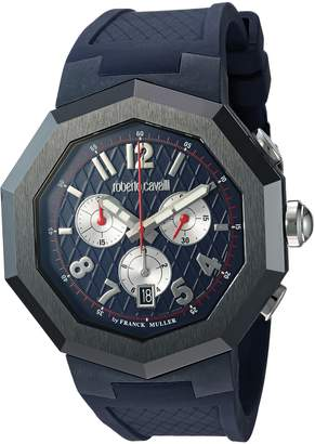 Roberto Cavalli by Franck Muller (PU5E5 by Franck Muller Men's 'OCTAGON' Quartz Stainless Steel and Rubber Casual Watch, Color: (Model: RV1G009P0026)