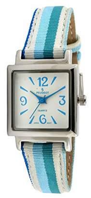 Peugeot Women's 3010BL Silver-Tone Canvas Ribbon Strap Watch