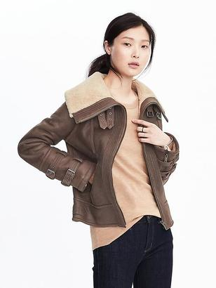Leather Sherpa Bomber Jacket $1,400 thestylecure.com