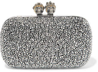 Alexander McQueen Queen And King Crystal-embellished Suede Clutch - Silver