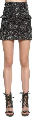 Balmain Embellished Denim Skirt