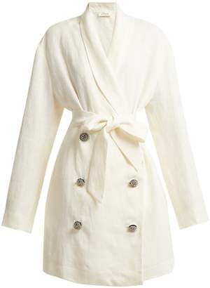 ATTICO Crystal-embellished button linen jacket