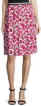 kate spade new york Mini Rose-Print Pleated Skirt, Cream/Multi $328 thestylecure.com