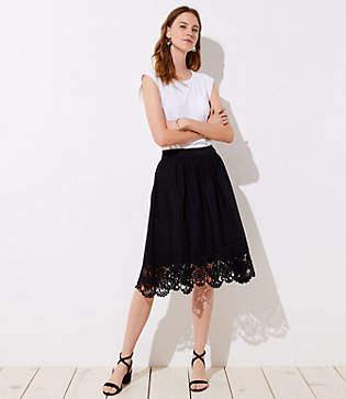 LOFT Eyelet Hem A-Line Skirt