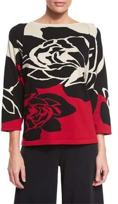 Joan Vass 3/4-Sleeve Rose Intarsia Sweater, Petite