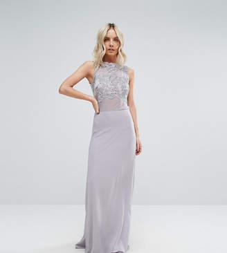 Club L Petite Allover Lace Applique Top Maxi Dress