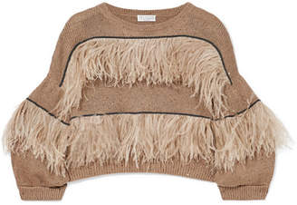 Brunello Cucinelli Feather-trimmed Embellished Cotton, Linen And Silk-blend Sweater - Mushroom