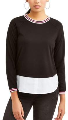 Como Blu Women's Athletic Trim Twofer Sweatshirt