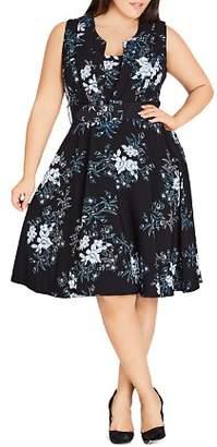 City Chic Plus Kaori-Floral Sleeveless Dress