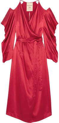 Roland Mouret Serena Cold-shoulder Silk-satin Wrap Dress - Red
