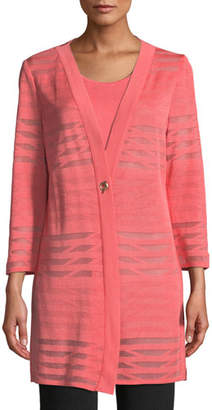 Misook Subtle Striped Long Jacket