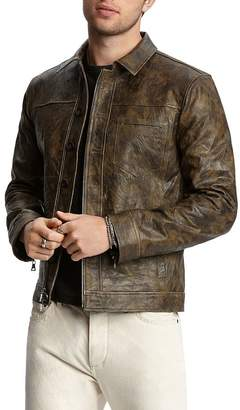 John Varvatos Collection Camouflage-Print Leather Jacket