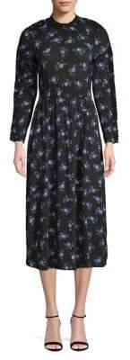Sandro Notting Hill Vrai Floral Long Sleeve Midi Dress