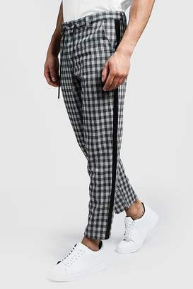 boohoo Check Tapered Trouser With Side Detail