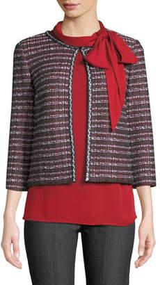 St. John Novelty Tweed Knit 3/4-Sleeve Jacket
