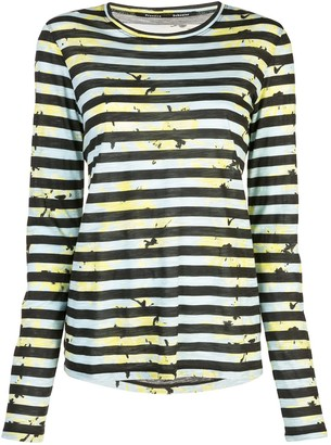 Proenza Schouler Striped Floral Splatter T-Shirt