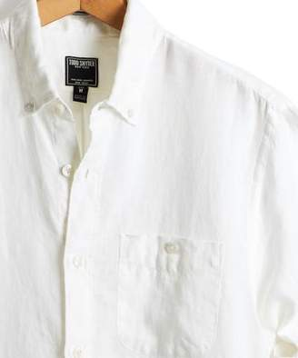 Todd Snyder Slim Fit Linen Pocket Button Down Shirt in White