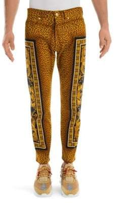 Versace Leopard Print Baroque Skinny Jeans