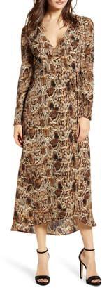 ALL IN FAVOR Long Sleeve Midi Wrap Dress