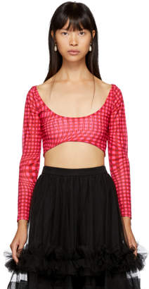Molly Goddard Pink Gingham Katie Cropped T-Shirt