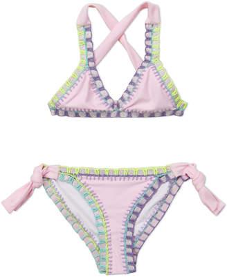 Pilyq Girls 7-16) Two-Piece Multi-color Embriodered Trim Halter Bikini