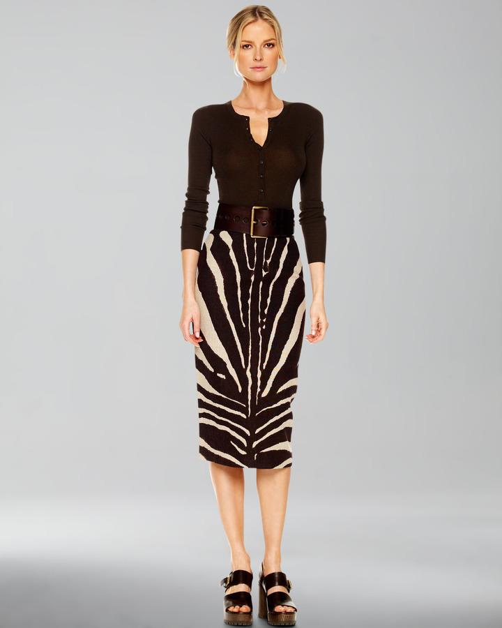 Michael Kors Zebra-Print Pencil Skirt